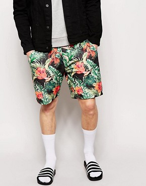 Hoxton Denim Colourful Palm Print Jogger Short