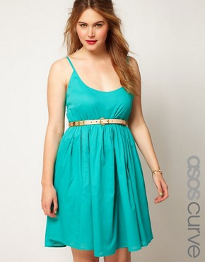 Image 1 ofASOS CURVE Empire Summer Dress With Cross Strap
