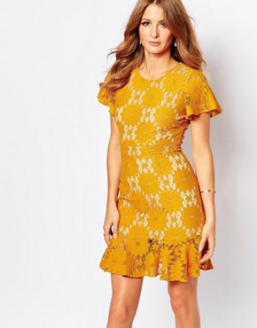 Millie Mackintosh Lace Pep Hem Dress in Mustard
