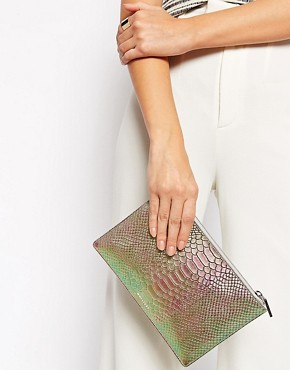 Whistles Leather Iridescent Faux Snake Clutch