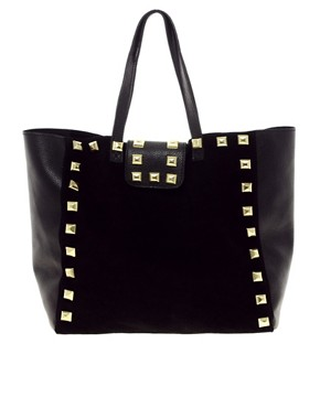 Image 1 ofASOS Suede Studded Shopper