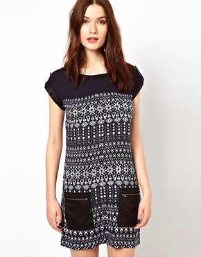 Image 1 ofWarehouse Tribal Zip Pocket Dress