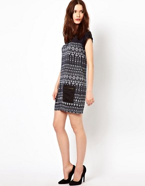 Image 4 ofWarehouse Tribal Zip Pocket Dress