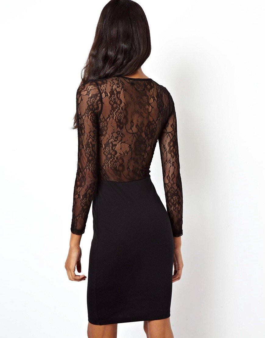Image 2 of ASOS PETITE Exclusive Bodycon Dress with Lace Inserts and Long Sleeves