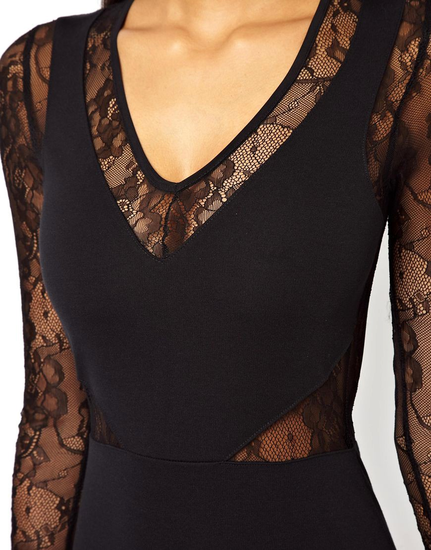 Image 3 of ASOS PETITE Exclusive Bodycon Dress with Lace Inserts and Long Sleeves