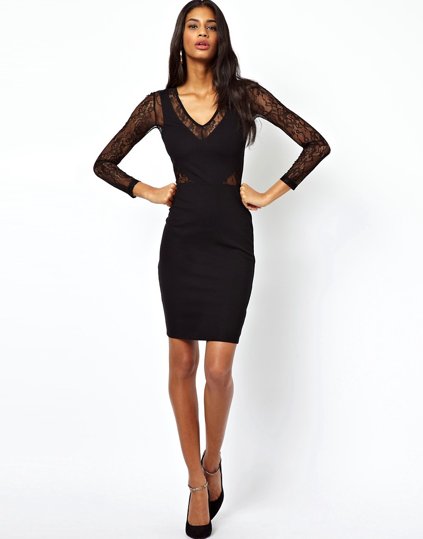 Image 4 of ASOS PETITE Exclusive Bodycon Dress with Lace Inserts and Long Sleeves