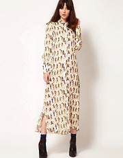 Nahm Silk Shirt Dress in Egyptian Print with Blouson Detail