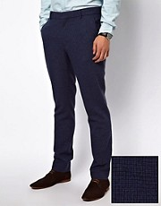 ASOS Skinny Fit Suit Trousers in Blue Dogstooth