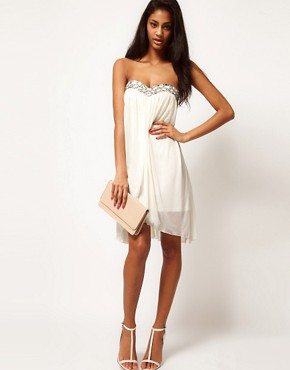 Image 4 ofASOS Strapless Dress In Mesh With Embellished Bust