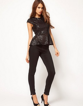 Image 4 ofASOS Peplum Top in Sequin