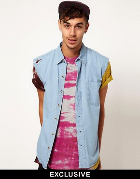 Image 1 ofReclaimed Vintage Sleeveless Denim Shirt with Worn Trims