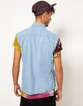 Image 2 ofReclaimed Vintage Sleeveless Denim Shirt with Worn Trims