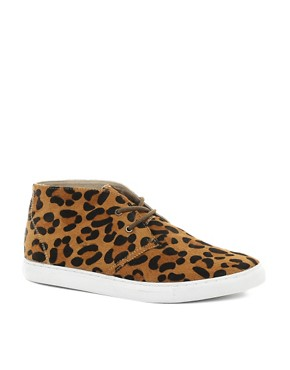 Image 1 ofASOS Chukka Boots with Leopard Print