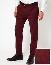 ASOS Skinny Fit Tuxedo Suit Trousers in Polywool