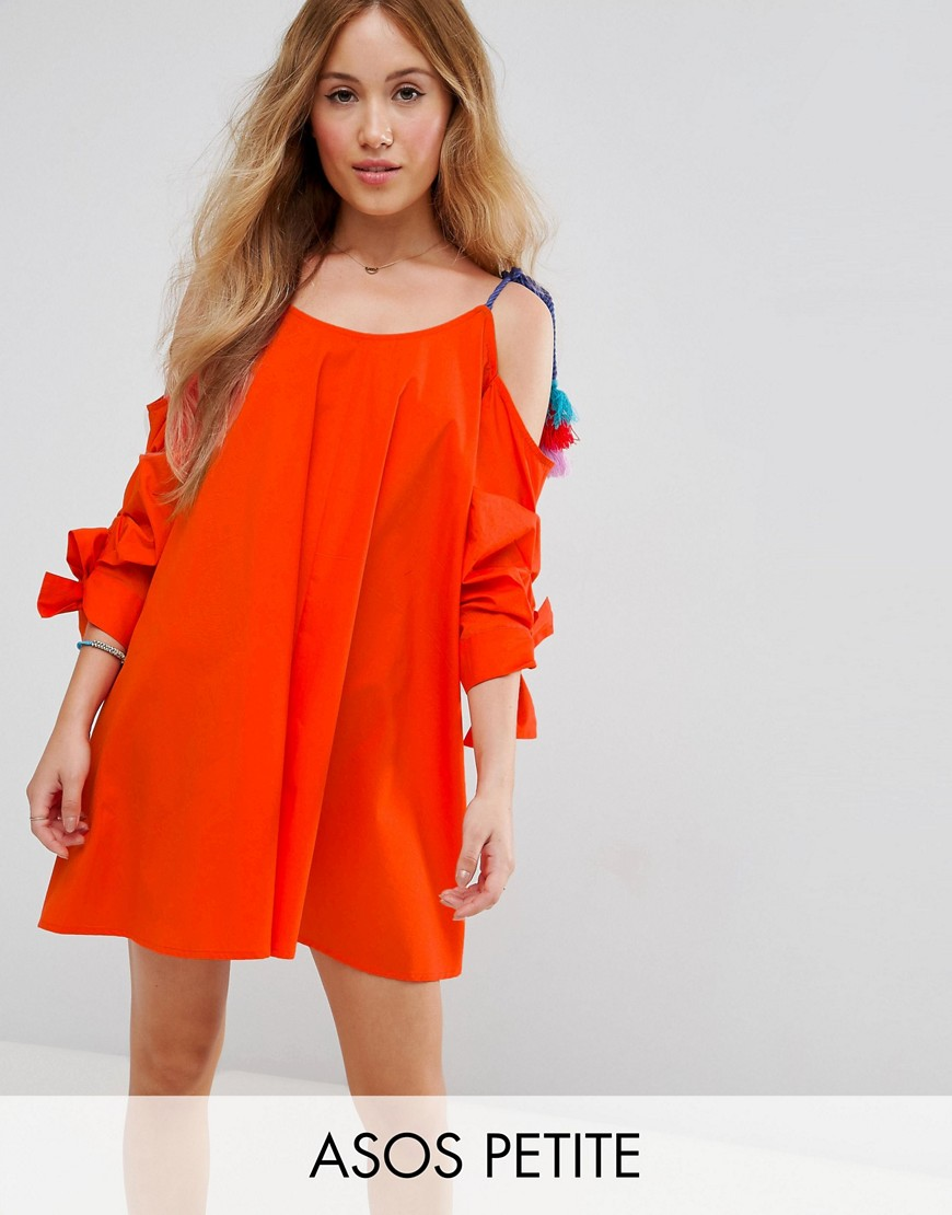 ASOS PETITE Cold Shoulder Sundress with Pom Pom Detail Straps - Orange