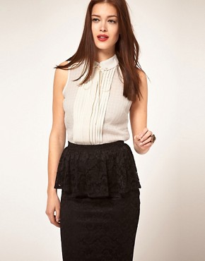 Image 1 ofASOS Textured Sleeveless Blouse