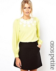 ASOS PETITE Blouse with 3D Floral Embroidered Neckline