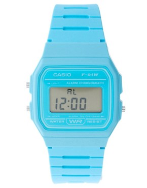 Bild 1 von Casio  F-91WC-2AEF  Blaue Digitalarmbanduhr