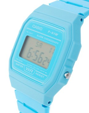Bild 3 von Casio  F-91WC-2AEF  Blaue Digitalarmbanduhr