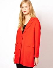 Sessun Car Coat in Bright Red