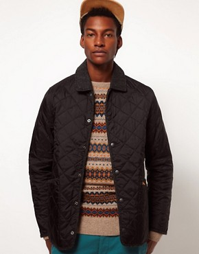 Image 1 ofBarbour Batesman Quilted Jacket with Tweed Collar