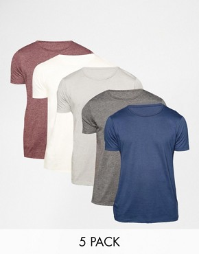 ASOS T-Shirt With Crew Neck 5 Pack Save 20%