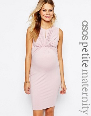 ASOS Maternity PETITE Twist Knot Front Sleeveless Bodycon Dress