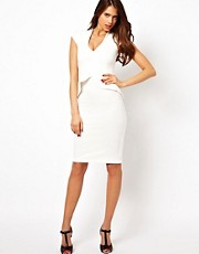 Vesper Dress with Peplum and Deep V Neck