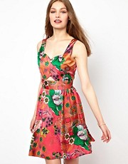 A Wear Cut Out Front Fit And Flare Dress