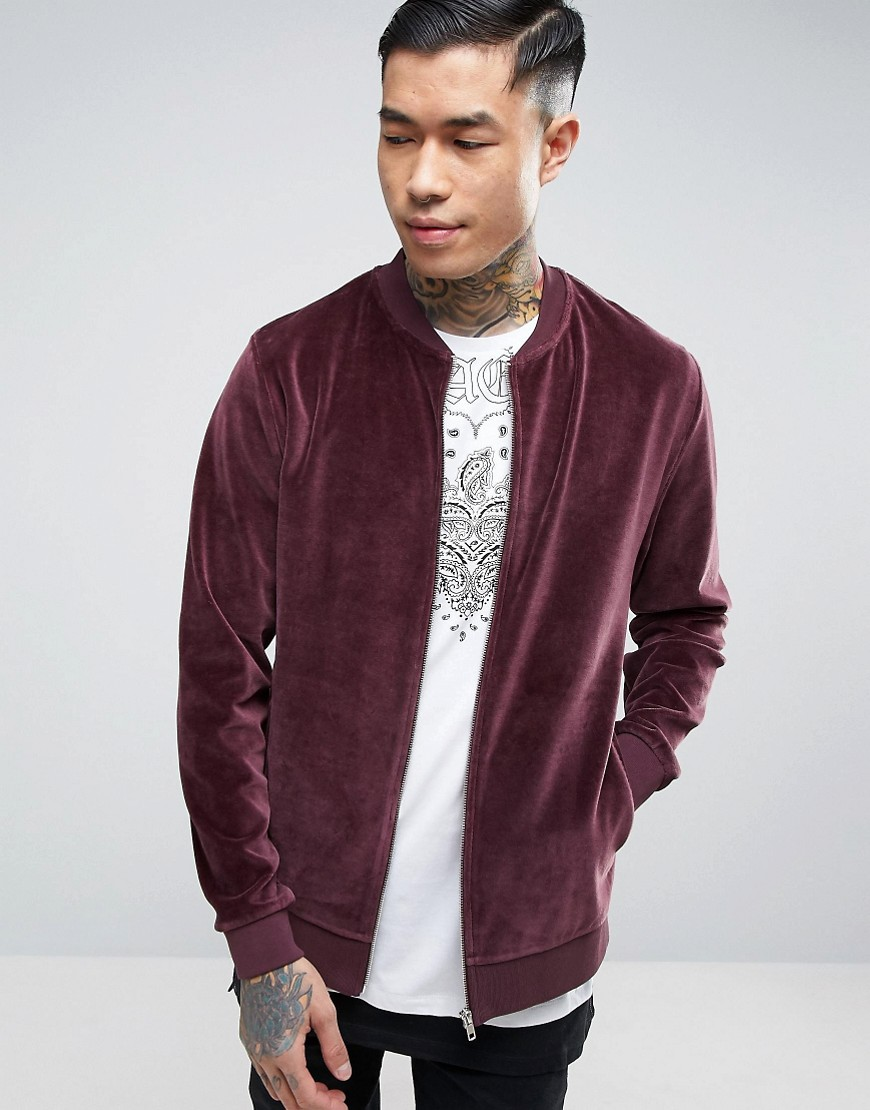 ASOS Bomber Jacket in Burgundy Velour - Red