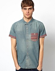 Native Youth Denim Shirt With Aztec Pocket