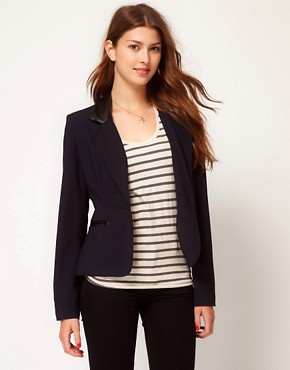 Image 1 ofGlamorous Blazer With PU Collar