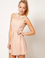 Vestido skater con cuello adornado de Glamorous
