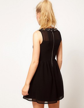 Image 2 ofGlamorous Embellished Collar Skater Dress