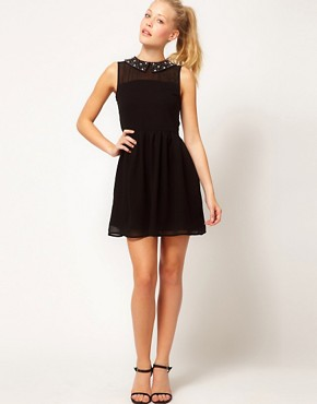 Image 4 ofGlamorous Embellished Collar Skater Dress