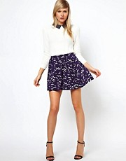 ASOS Skater Skirt in Spring Bird Print
