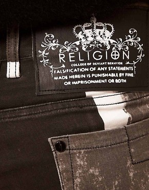 Image 3 ofReligion Skinny Jeans With Union Jack Print
