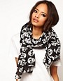 Image 1 ofASOS Metallic Skull Print Scarf