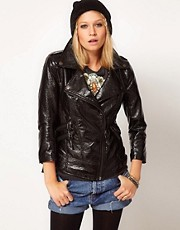 ASOS Hi-Shine Leather Look Biker Jacket