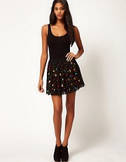 ASOS Skater Skirt with Gem Jewels