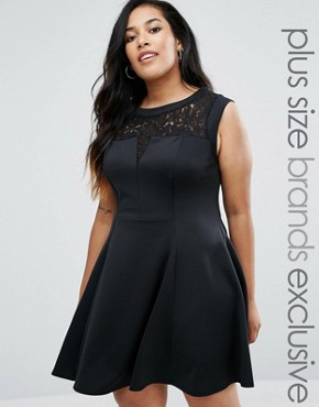 New Look Plus Lace Skater Dress