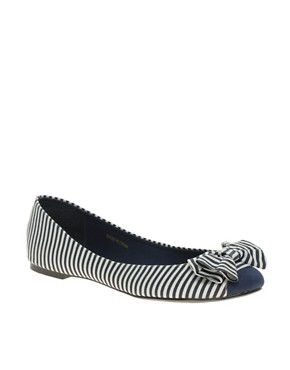 Image 1 ofASOS LAKE Stripe Bow Ballet Pumps