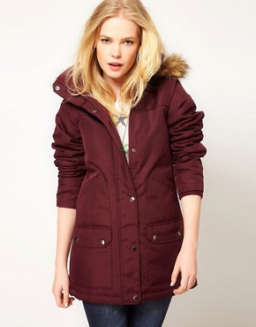Image 1 ofVero Moda Fur Trim Hood Parka Coat