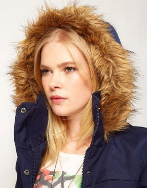 Image 3 ofVero Moda Fur Trim Hood Parka Coat