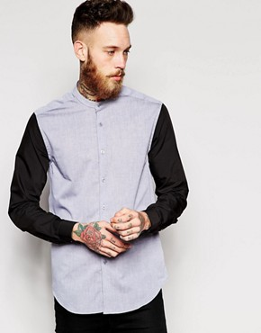 ASOS Shirt In Long Sleeve With Grandad Collar