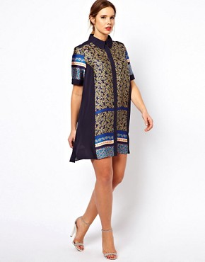 Image 4 ofASOS CURVE Exclusive Shirt Dress In Cutabout Floral