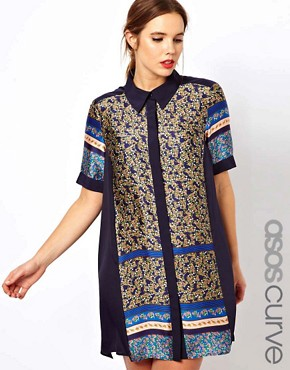 Image 1 ofASOS CURVE Exclusive Shirt Dress In Cutabout Floral