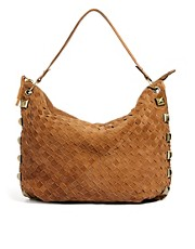 River Island Weave Slouch Tote With Studs