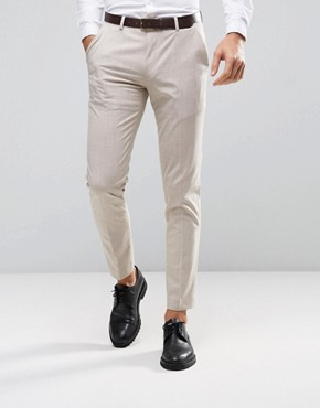 ASOS WEDDING Skinny Suit Trouser in Crosshatch Nep