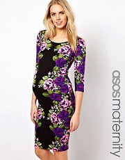 ASOS Maternity Midi Bodycon Dress In Floral